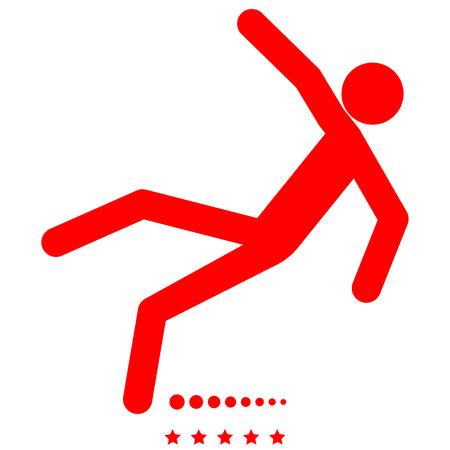 Man slip fall icon Illustration color fill simple style  イラスト・ベクター素材