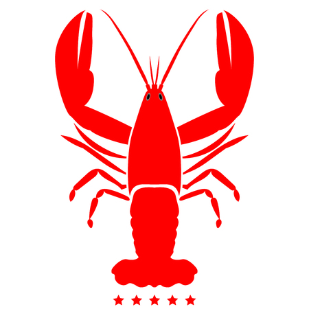 Craw fish icon Illustration color fill simple style