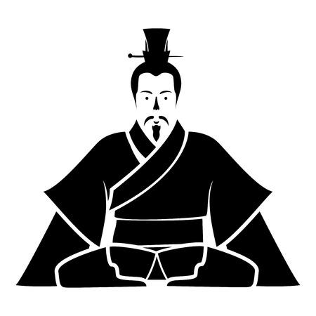 Emperor of China icon black icon flat illustration symple style Illustration