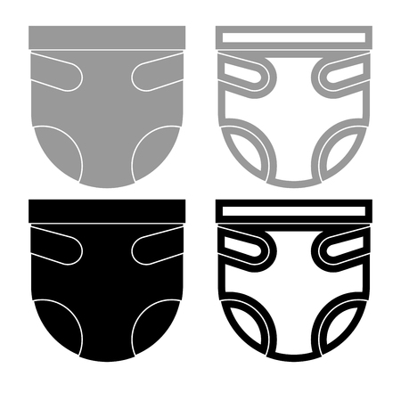 Diaper or nappy iconset grey black color vector Illustration