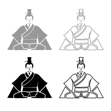 Emperor of China iconset grey black color vector Illustration