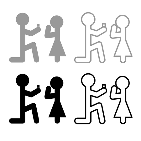 The man makes an offer woman stick icon set grey black color vector Illustration