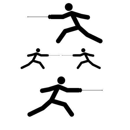 Escrimeur bâton icônes noir couleur vector illustration style plat