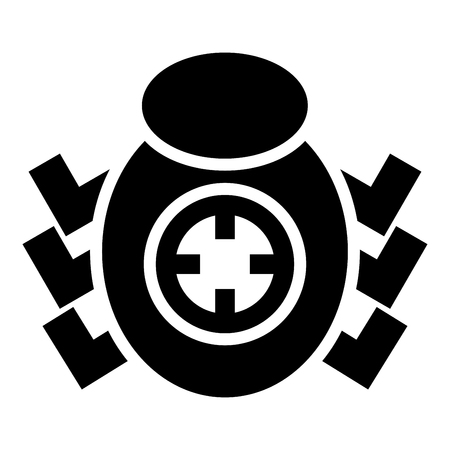 Bug beetle in target sight icon black color vector illustration flat style simple image