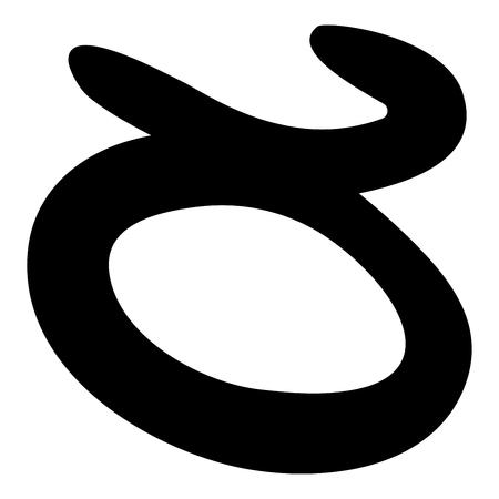 종교 희귀 아이콘 검은 색 벡터 일러스트 레이 션 플랫 스타일에 대 한 황소의 상징