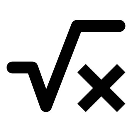 Square root of x axis icon black color vector illustration flat style simple image 向量圖像