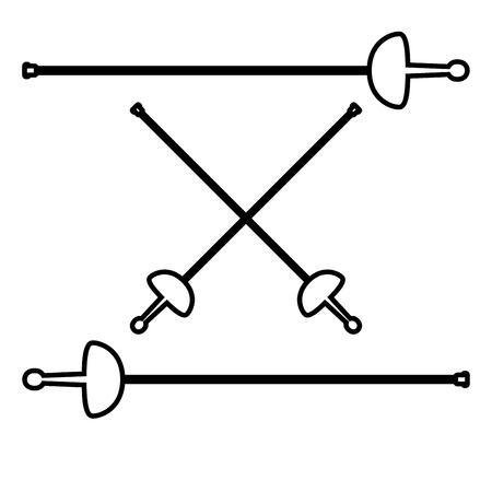 Épées pour icône d'escrime couleur noire illustration vectorielle style plat image simple