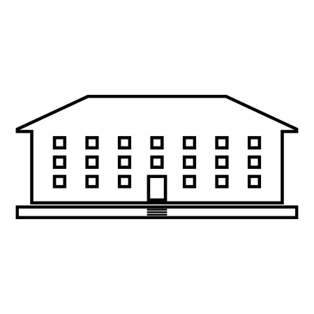 School building icon black color vector illustration flat style simple image