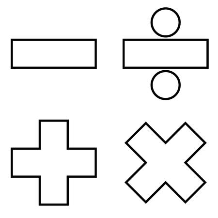 Icône de signes mathématiques couleur noire illustration vectorielle style plat image simple Vecteurs