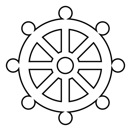 Ship wheel  sign icon black color vector illustration flat style simple image 일러스트