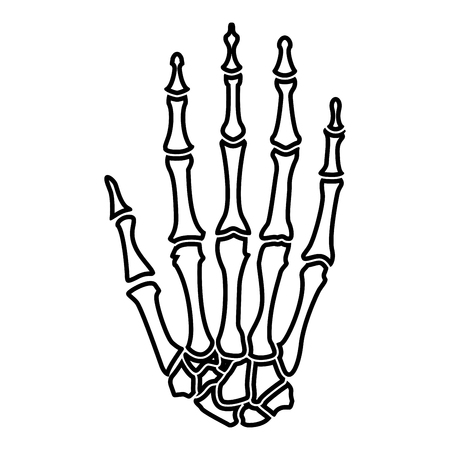 Hand bone icon black color vector illustration flat style simple image