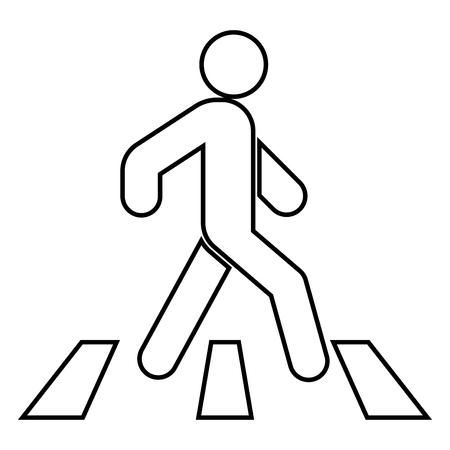 Peatón en icono de paso de cebra color negro ilustración vectorial estilo plano simple imagen