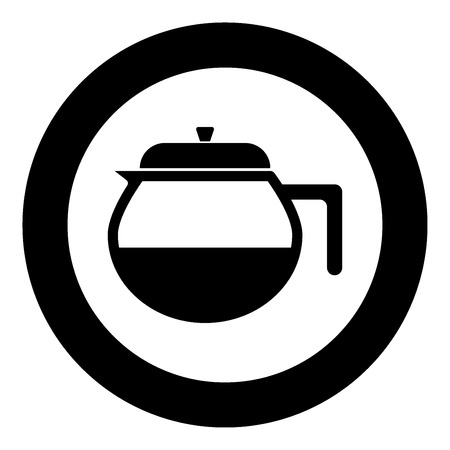 Teapot the black color icon  in circle or round vector illustration