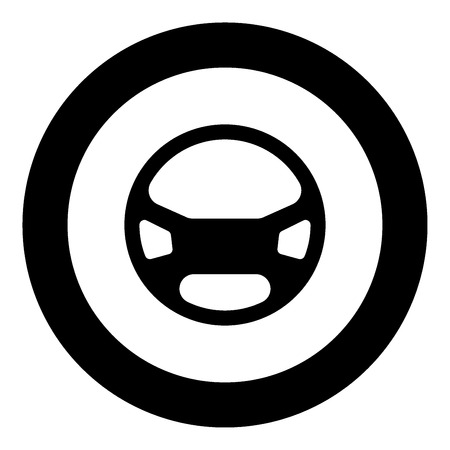 Steering wheel the black color icon  in circle or round vector illustration
