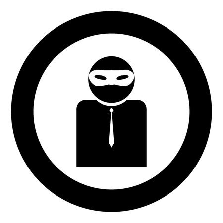 The man incognito in a mask the black color icon  in circle or round vector illustration