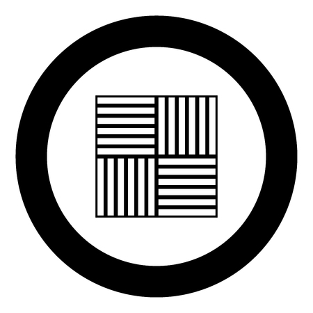 Laminate flooring  icon black color in circle or round vector illustration Ilustração