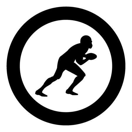 American football player  icon black color in circle or round vector illustration Stock Vector - 98251440
