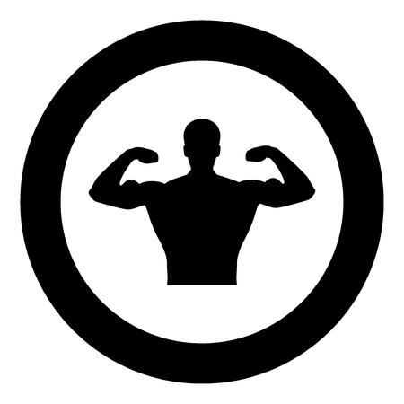 Bodybuilder icon black color in circle or round vector illustration