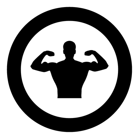 Bodybuilder icon black color in circle or round vector illustration