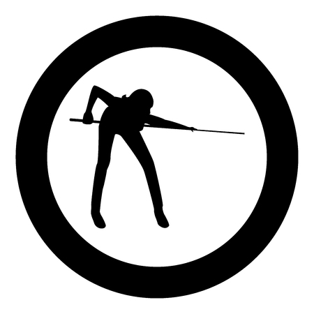 Woman playing billiards  icon black color in circle or round vector illustration