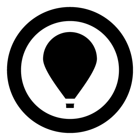 Hot air balloon  icon black color in circle or round vector illustration Иллюстрация
