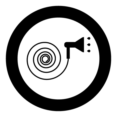 Jets of water irrigates  icon black color in circle or round vector illustration