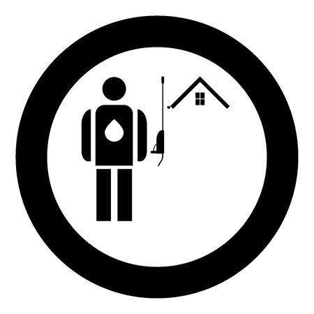 Power washing and gutter cleaning  icon black color in circle or round vector illustration