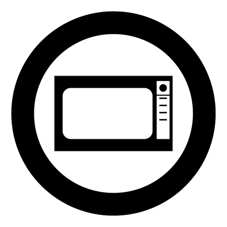 Microwave oven  icon black color in circle or round vector illustration