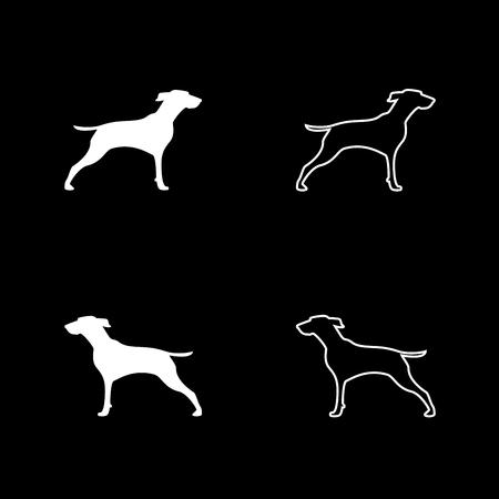 Hunter dog or gundog icon set white color vector illustration flat style simple image Illustration