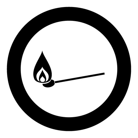 Burning match  icon black color in circle or round vector illustration
