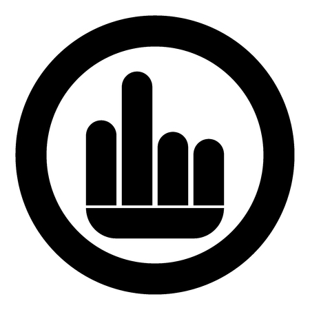 Finger symbol icon black color in circle or round vector illustration. Ilustração