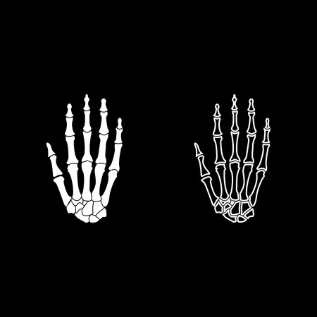 Hand bone icon set white color vector illustration flat style simple image.