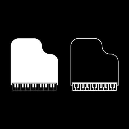Grand piano icon set white color vector illustration flat style simple image.