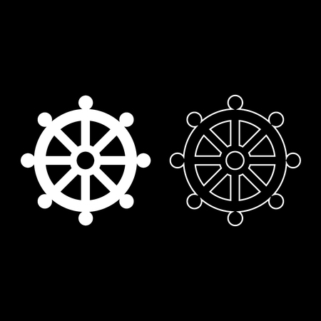 Symbol budhism wheel law religious sign icon set white color vector illustration flat style simple image