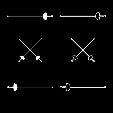 Swords for fencing icon set white color vector illustration flat style simple image