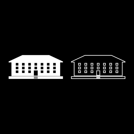 School building icon set white color vector illustration flat style simple image