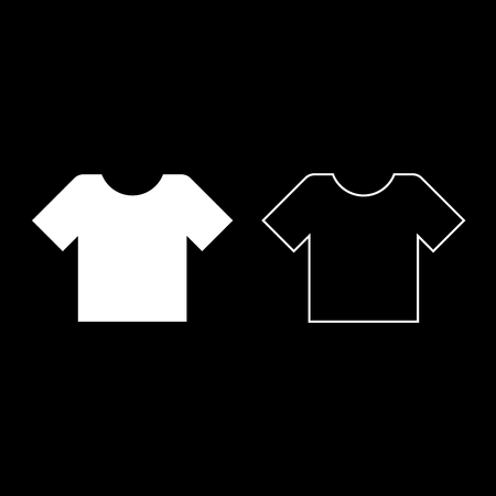 T-shirt icon set white color vector illustration flat style simple image
