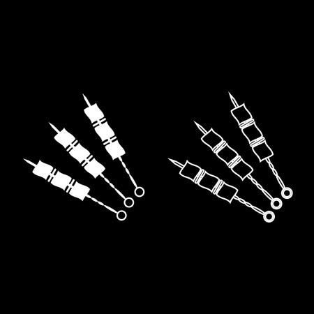 Shish kebab icon set white color vector illustration flat style simple image
