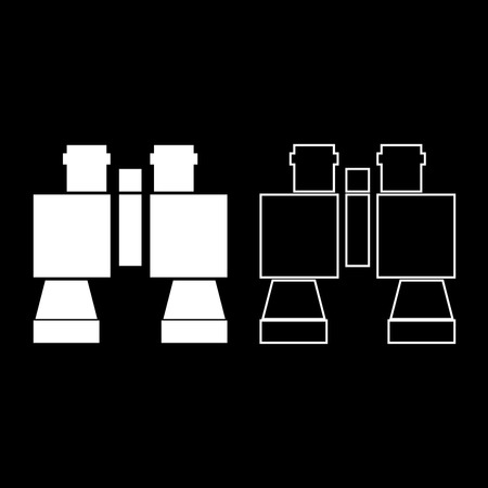 Binocular pair of glasses icon set white color vector illustration flat style simple image.