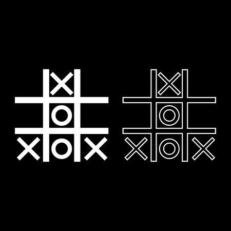 Tic tac toe game icon set white color vector illustration flat style simple image.