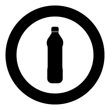 Water plastic bottle  icon black color in circle or round vector illustration Illustration