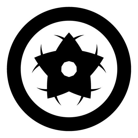 Flower icon black color in circle or round vector illustration