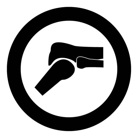 Knee joint icon black color in circle vector illustration Illustration