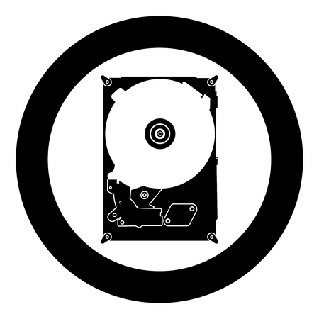 Hard drive disk icon black color in circle vector illustration