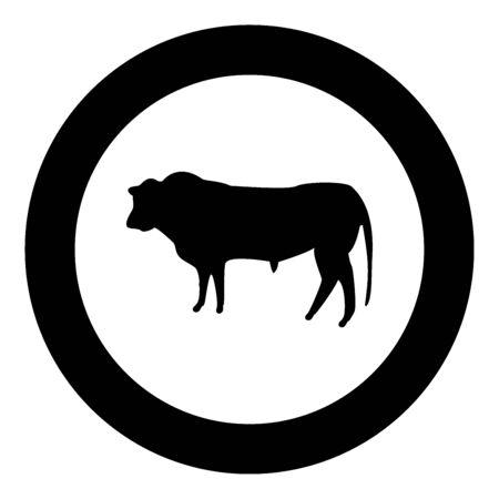 Bull icon black color in circle vector illustration