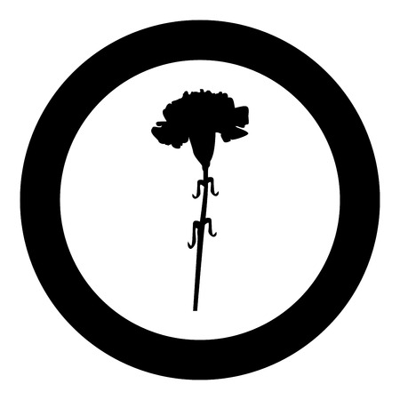 Carnation icon black color in circle vector illustration