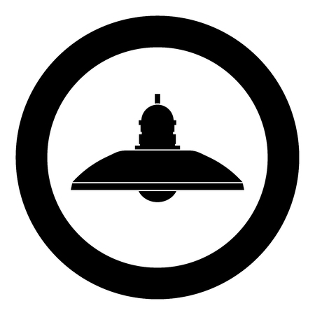 Retro household lamp and floor lamp icon black color in circle vector illustration.