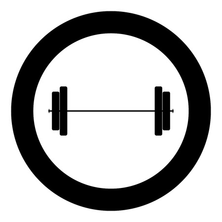 Barbell icon black color in circle vector illustration Vectores