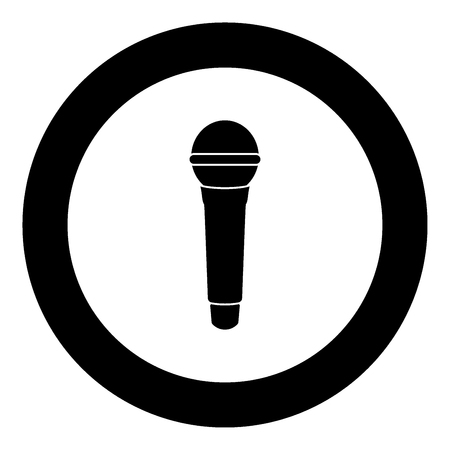 Microphone icon black color in circle vector illustration isolated Ilustração