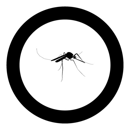 Mosquito icon black color in circle vector illustration isolated